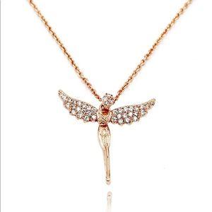 Rose gold angel crystal necklace